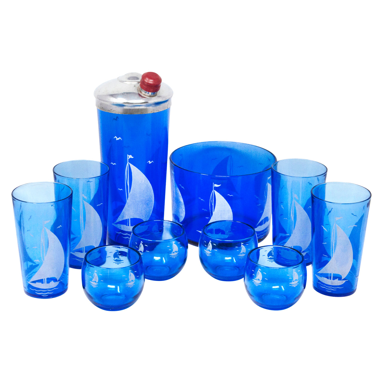 Vintage Hazel Atlas Cobalt Sailboat Cocktail Shaker Set | The Hour Shop