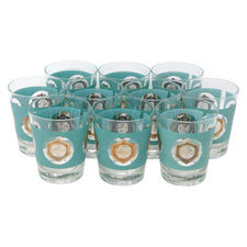Vintage Aqua & Gold Longevity Symbol Double Old Fashioned Glasses | The Hour Shop