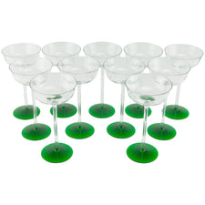 Green Base Long Stem Coupe Glasses | The Hour Shop Vintage
