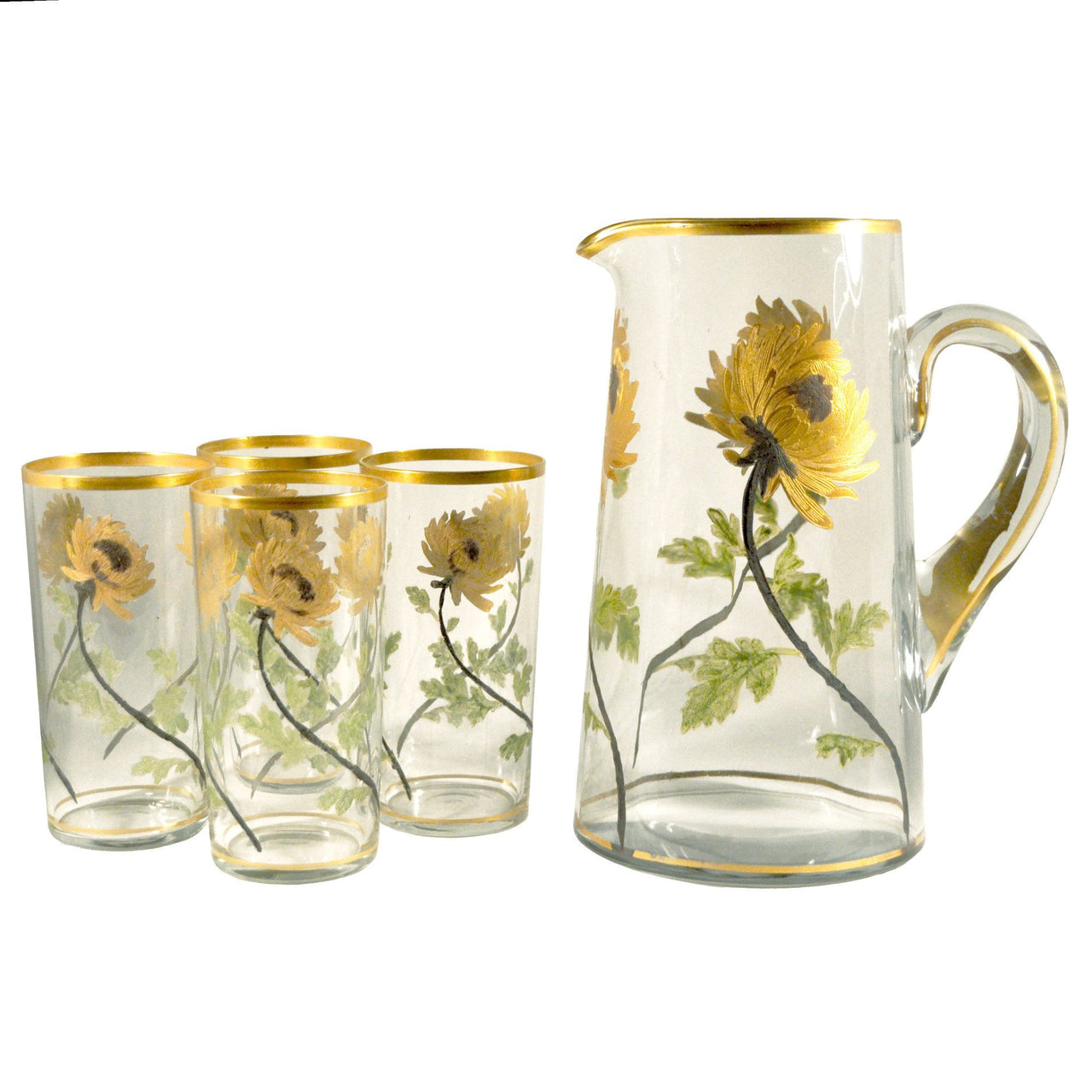 Hand Painted Chrysanthemum Pitcher Set, The Hour Shop Vintage