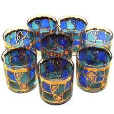 Georges Briard Stained Glass Rocks Glasses, The Hour Shop Vintage Cocktail Glasses