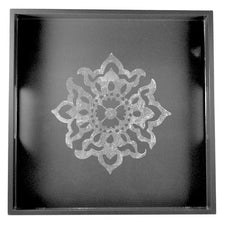 Grey Silver Snowflake Lacquer Serving Bar Tray, The Hour