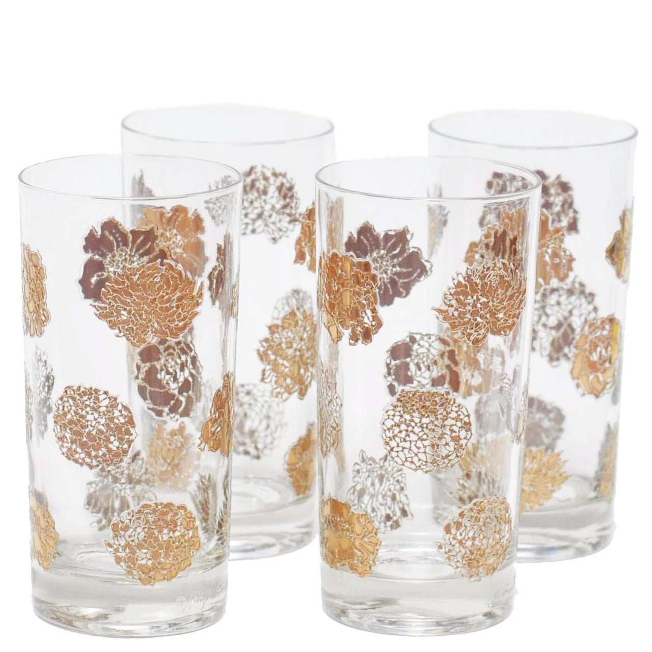 G. Briard Gold Flowers Collins Glasses, The Hour Shop Vintage