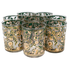 Vintage Culver Teal White and Gold Flower Rocks Glasses | The Hour Shop