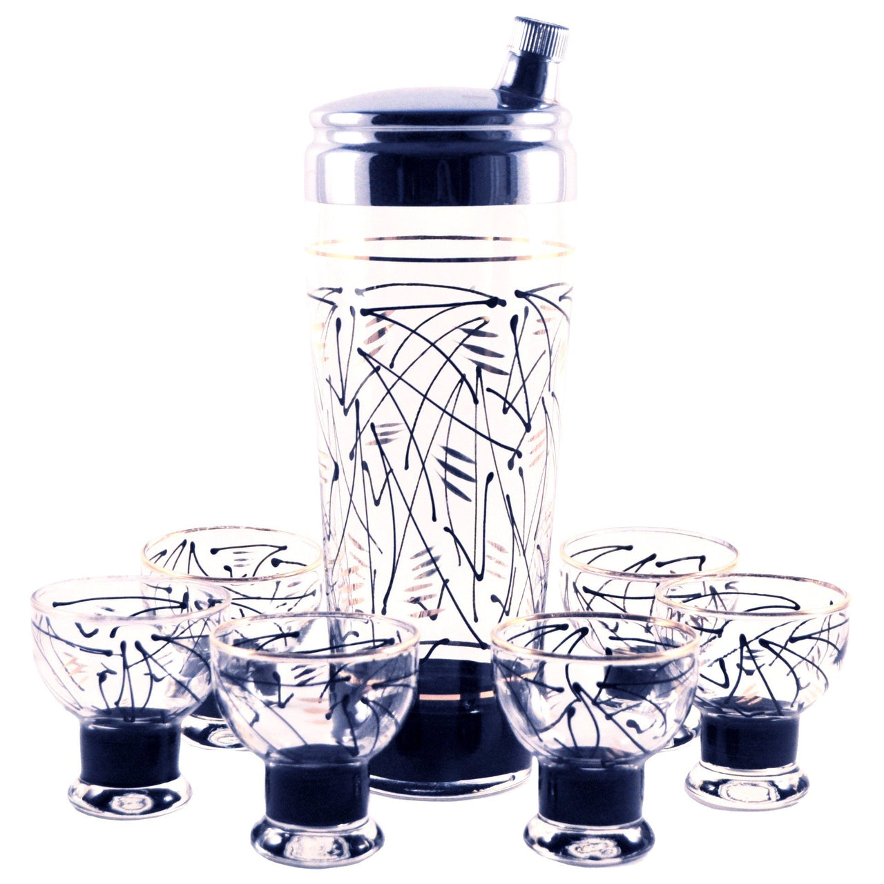 Vintage Black & Gold Cocktail Shaker Set, The Hour Shop