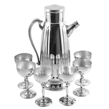 Vintage Chrome Ribbed Lines Cocktail Shaker Set | The Hour Shop