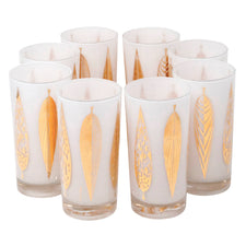 Vintage Fred Press Gold White Leaves Collins Glasses | The Hour Shop