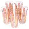 Fred Press Pink and Gold Leaves Collins Glasses Top | The Hour Shop