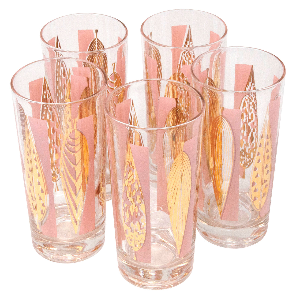 Fred Press Pink and Gold Leaves Collins Glasses | The Hour Shop
