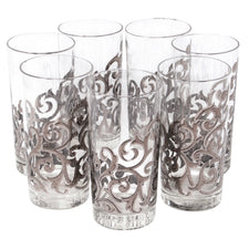 Vintage Libbey Silver Fancy Scroll Collins Glasses | The Hour Shop