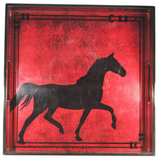 Burgundy Black Horse Lacquer Cocktail Tray, The Hour Shop