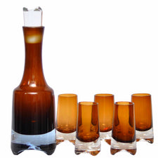 Denby Amber Brown Decanter Set, The Hour Shop Vintage Barware Glassware