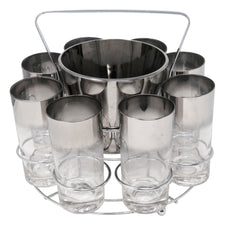 Vintage Mercury Fade Ice Bucket Collins Glasses Caddy Set | The Hour Shop