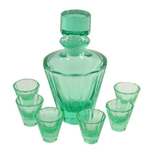 Vintage Art Deco Green Crystal Decanter & Glasses Set, The Hour