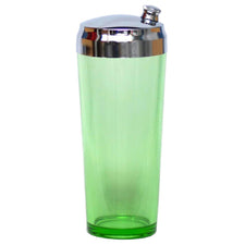 Vintage Green Vaseline Glass Cocktail Shaker | The Hour Shop