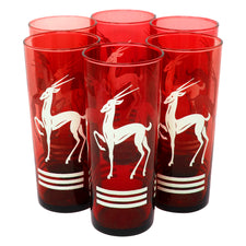 White Gazelle Red Glass Collins