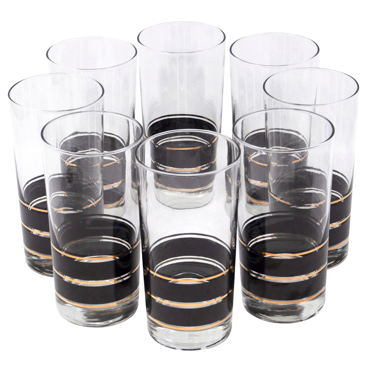 Vintage Libbey Black and Gold Band Collins Glasses | The Hour Shop