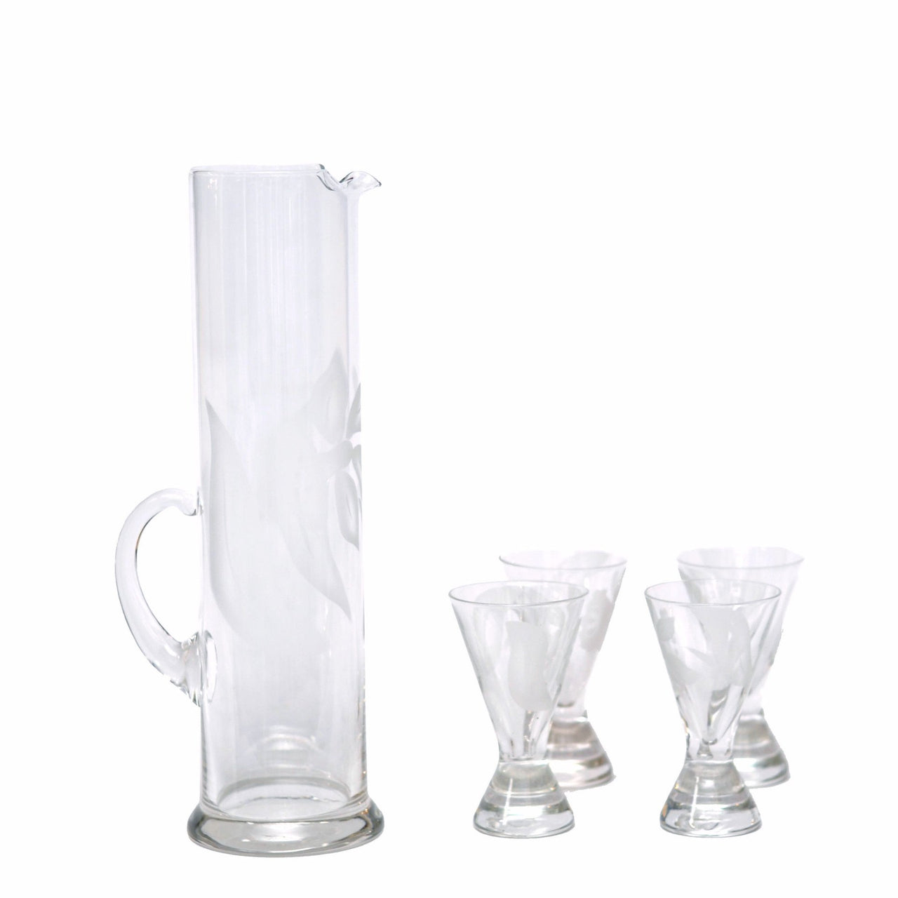 The Hour, Vintage Etched Daffodil Cocktail Pitcher Set