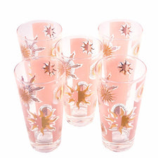 Vintage Fred Press Pink & Gold Celestial Sun Collins Glasses