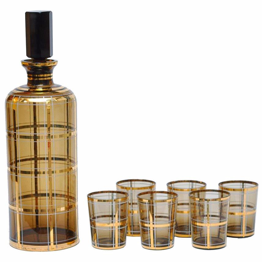Brown & Gold Plaid Decanter Set, The Hour Shop Vintage Barware Glassware Decanter Cocktail Glasses