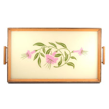 The Hour Shop, Vintage Reverse Painted Glass Flower Tray