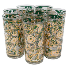 Vintage Culver Teal White & Gold Flower Collins Glasses | The Hour Shop