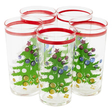 Vintage Red Band Christmas Tree Collins Glasses | The Hour