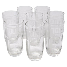 "Frosted ""Bourbon"" Clear Collins Glasses"