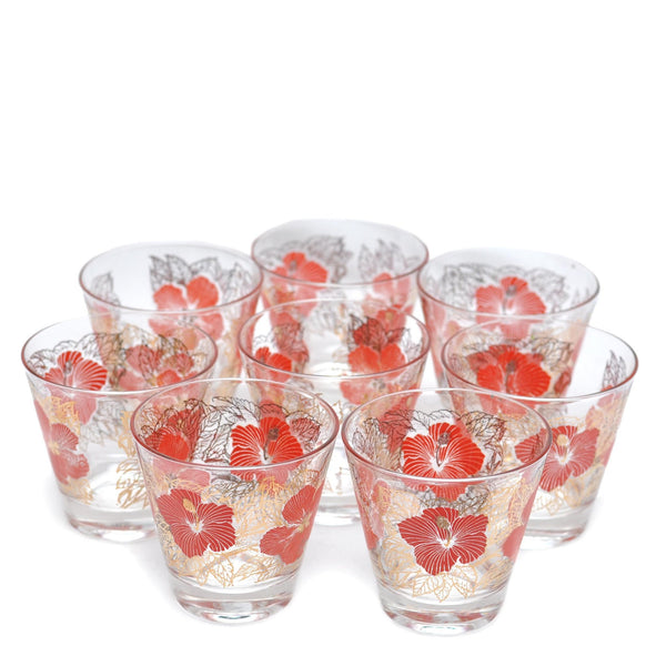 Fred Press 1960s Red Hibiscus Cocktail Glasses The Hour Shop
