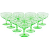 Green Vaseline Glass Coupe Glasses | The Hour Shop Vintage