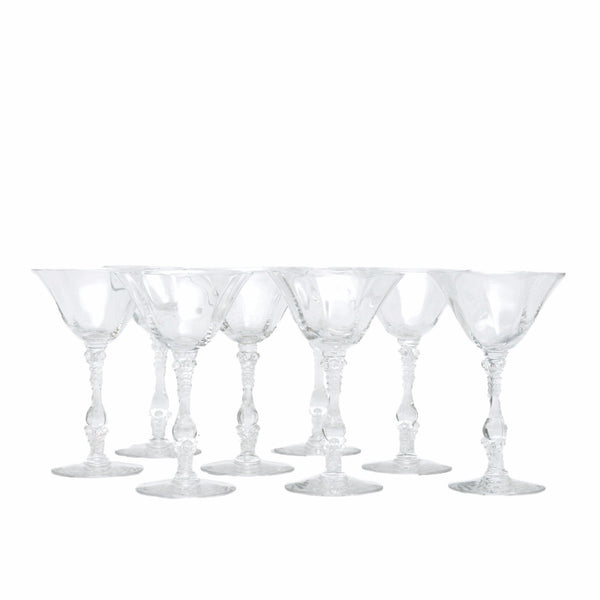 The Hour Shop, Vintage Art Deco Crystal Cocktail Glasses