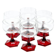 Ruby Red Stem Coupe Glasses