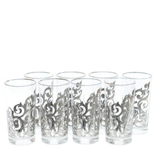 1970s Vintage Libbey Orsini Silver Fancy Scroll Collins Glasses