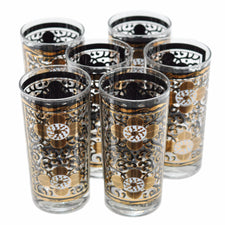 The Hour Shop, Vintage Georges Briard Gold/Black Flower Glasses