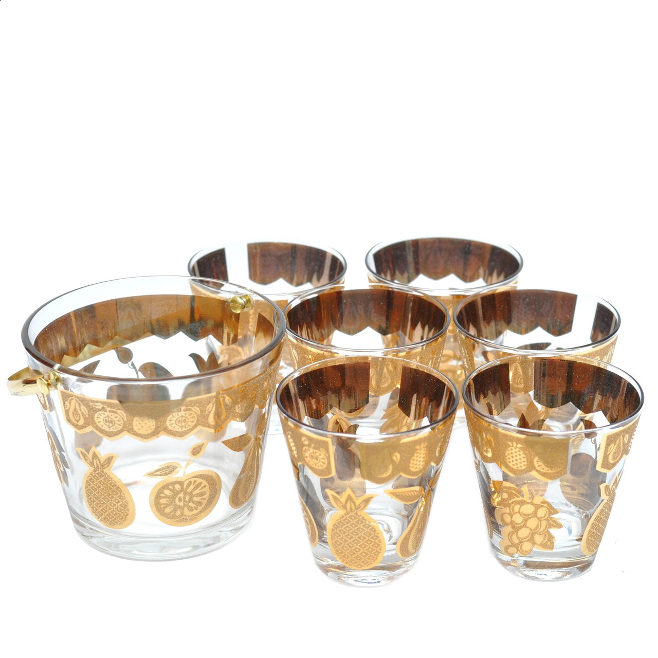 The Hour Shop, Vintage Culver Florentine Gold Fruit Glasses Set