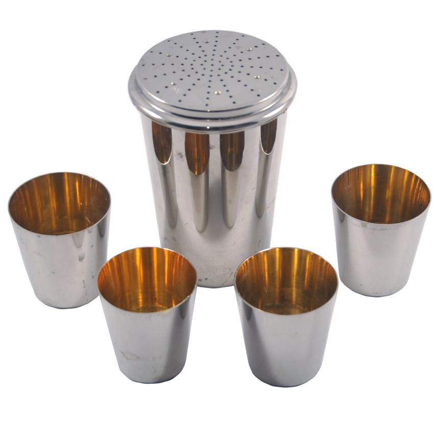 Vintage Chrome German Travel Nested Cocktail Shaker Set