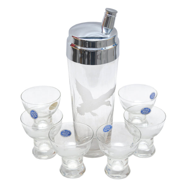 The Hour, Vintage Etched Geese Glass Cocktail Shaker Set