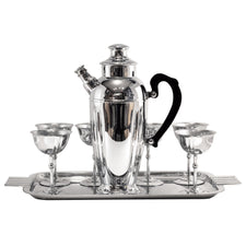 The Hour Vintage Deco Chrome Cocktail Shaker Set