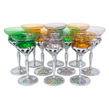 Morgantown Multicolored Glass Insert Chrome Cocktail Stems | The Hour Shop