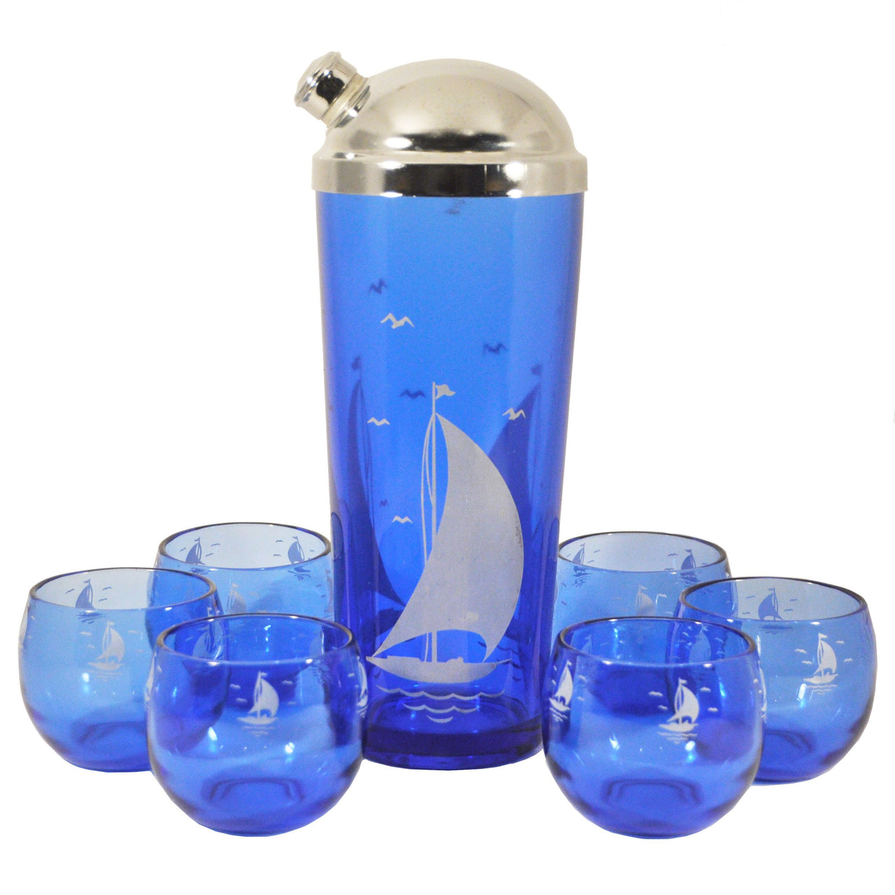 Vintage Hazel Atlas Cobalt Sailboat Set, The Hour Shop