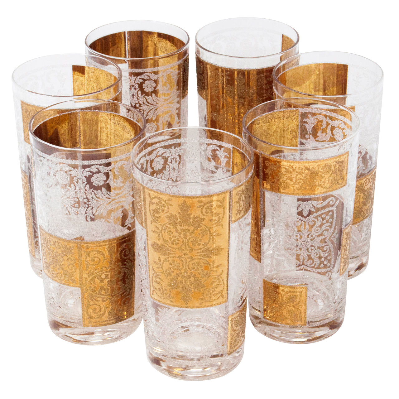Vintage Pasinski Gold and Frosted Filigree Collins Glasses | The Hour Shop