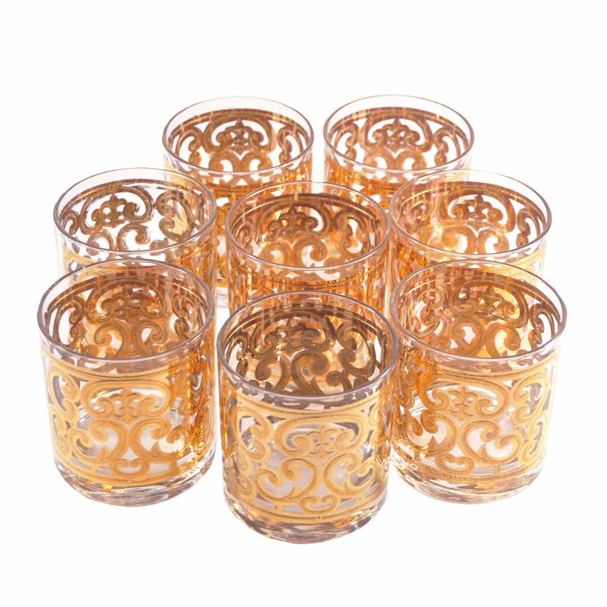 The Hour Shop, Georges Briard Gold Scrolls Rocks Glasses