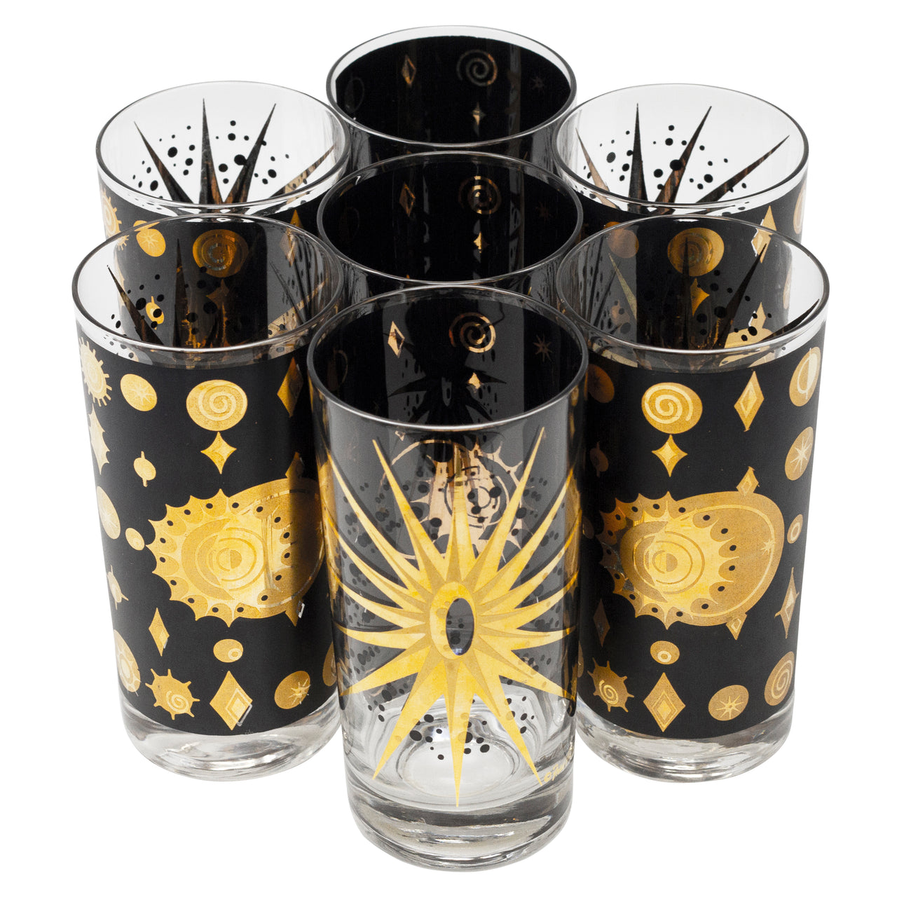 Vintage Mid Century Fred Press Black & Gold Celestial Collins Glasses | The Hour