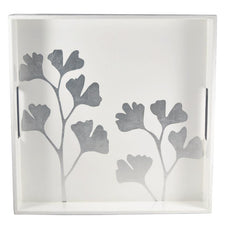 The Hour Shop, Silver & White Ginko Leaves Lacquer Tray