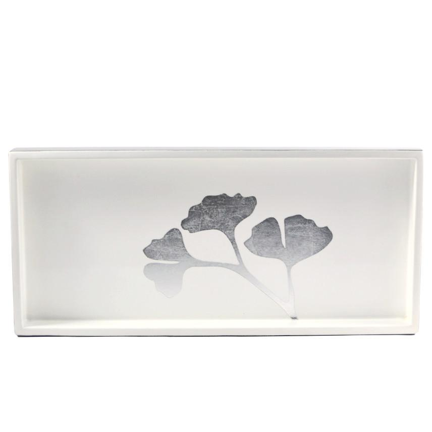 The Hour, Ginko Leaves White & Silver Lacquer Bar Tray