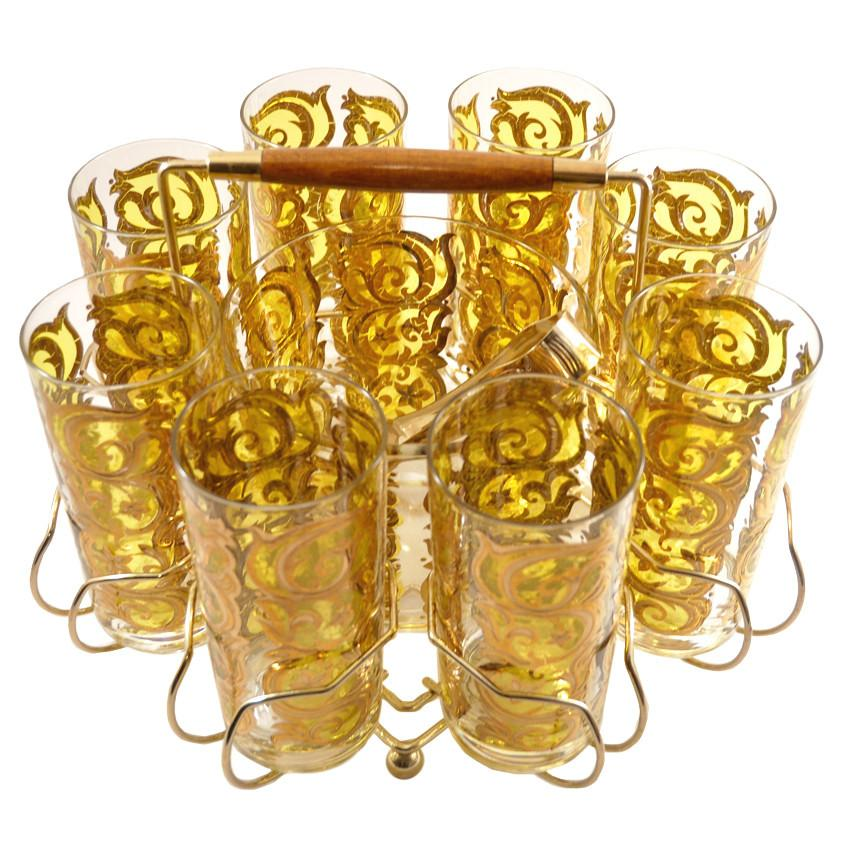 Yellow & Gold Scroll Ice Bucket Glass Caddy Set | The Hour Vintage