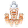 Vintage Orange & Silver Rings Cocktail Shaker Set Top | The Hour Shop