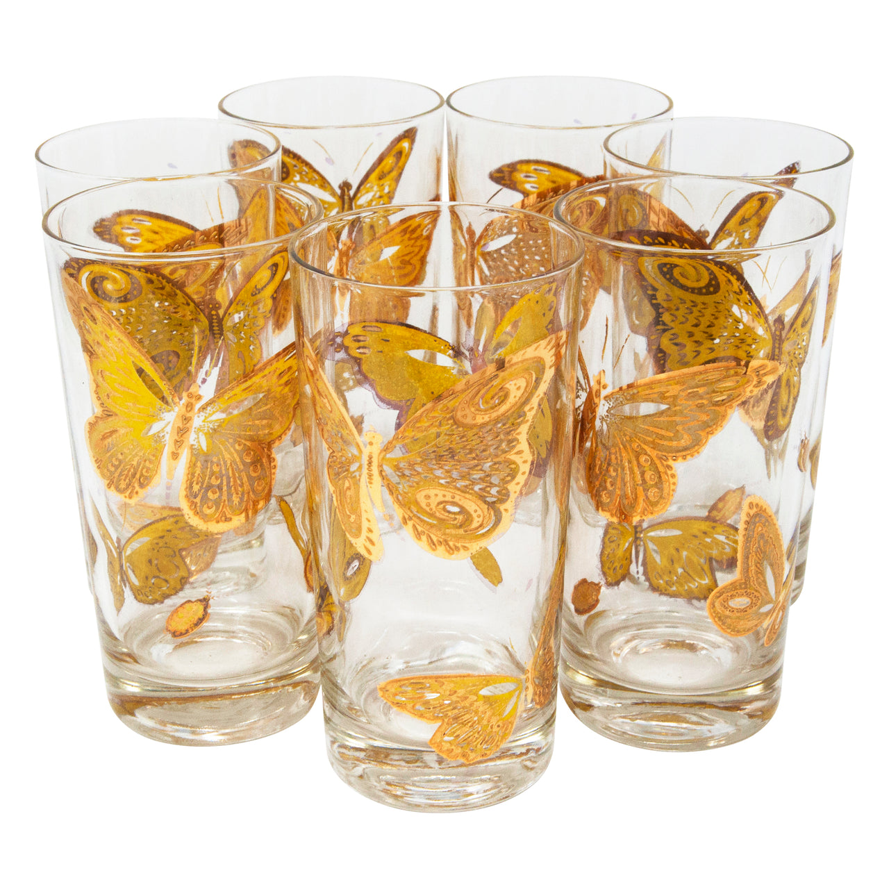 Vintage Gold Butterfly Collins Glasses | The Hour Shop
