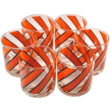 Georges Briard Diagonal Stripes Rocks Glasses, The Hour Shop Vintage Cocktail Glasses