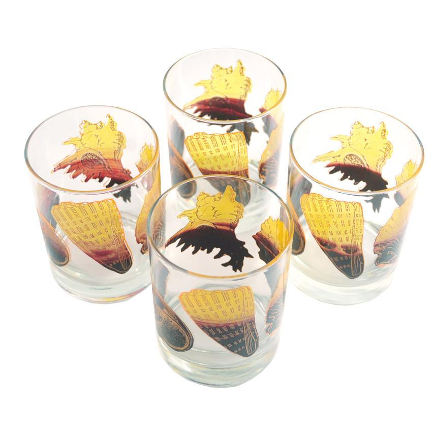 Vintage Yellow & Brown Seashell Rocks Glasses | The Hour